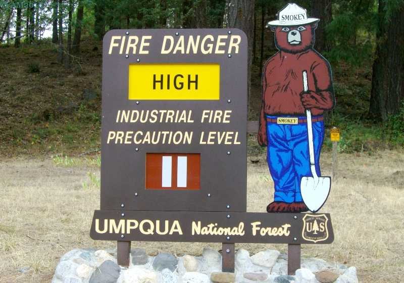 Smokey the Bear sign at Tiller, Oregon.